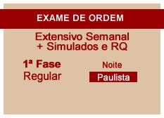 Extensivo OAB + Simulados e RQ | 1ª Fase | Modular | Regular | Noite | Paulista