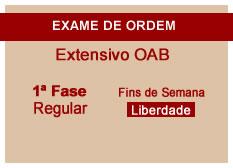 Extensivo OAB | 1ª Fase | Regular | Fins de Semana | Liberdade