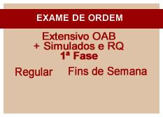 Extensivo OAB + Simulados e RQ | 1ª Fase | Regular | Fins de Semana