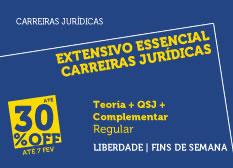Extensivo Essencial Carreiras Jurídicas | Teoria + QSJ + Complementar | Regular | Fins de Semana | Liberdade