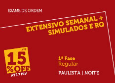 Extensivo Semanal + Simulados e RQ   1ª Fase   Modular   Regular   Noite   Paulista