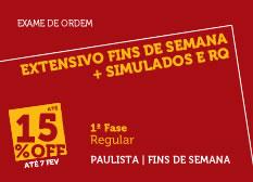 Extensivo Fins de Semana + Simulados e RQ | 1ª Fase | Modular | Regular | Paulista